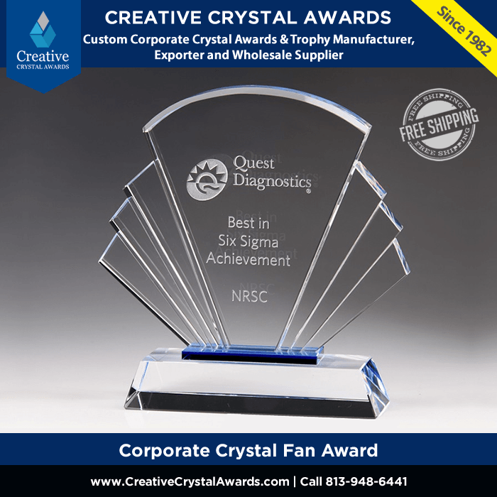 corporate crystal fan award wholesale