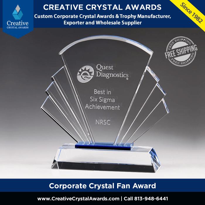 corporate crystal fan award wholesale
