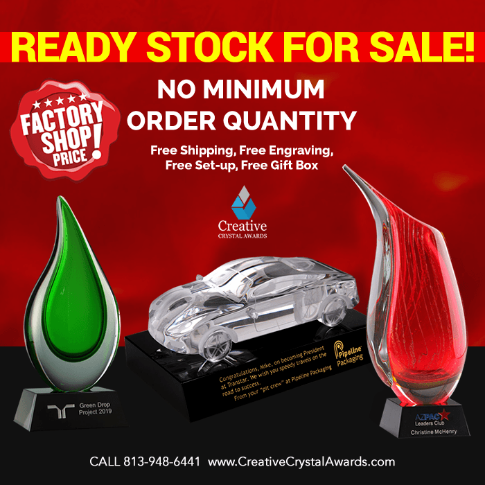 popular crystal awards and art glass trophies