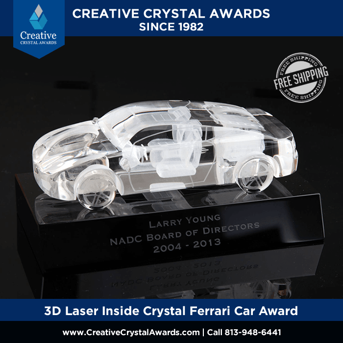 engraved crystal car award for car dealers