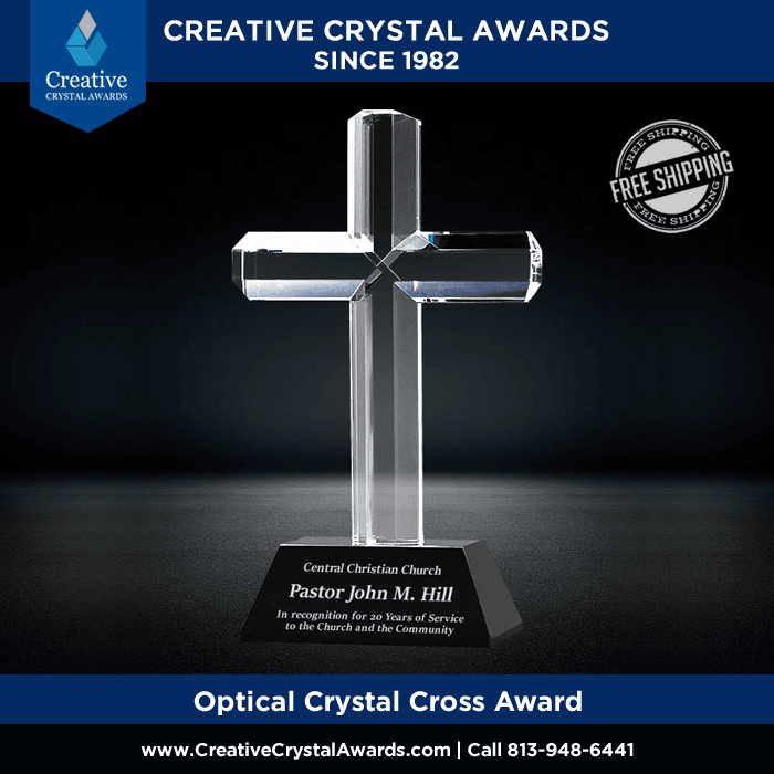 reliigious theme crystal cross award