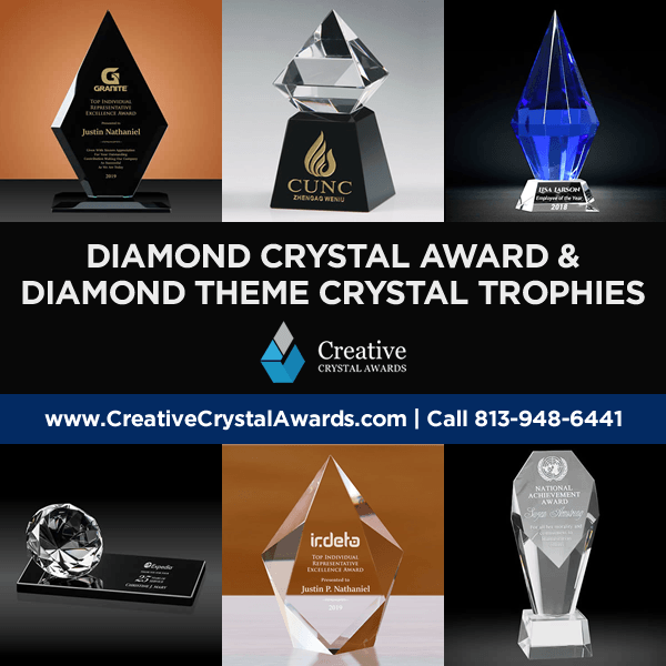 crystal diamond awards diamond shaped crystal award trophies