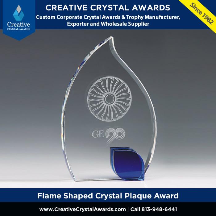 crystal flame award flame shaped crystal plaque award