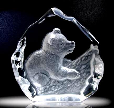 3d crystal bear award