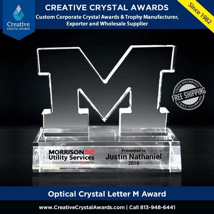 crystal letter M award