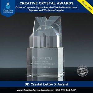3d crystal letter X award custom crystal X trophy award