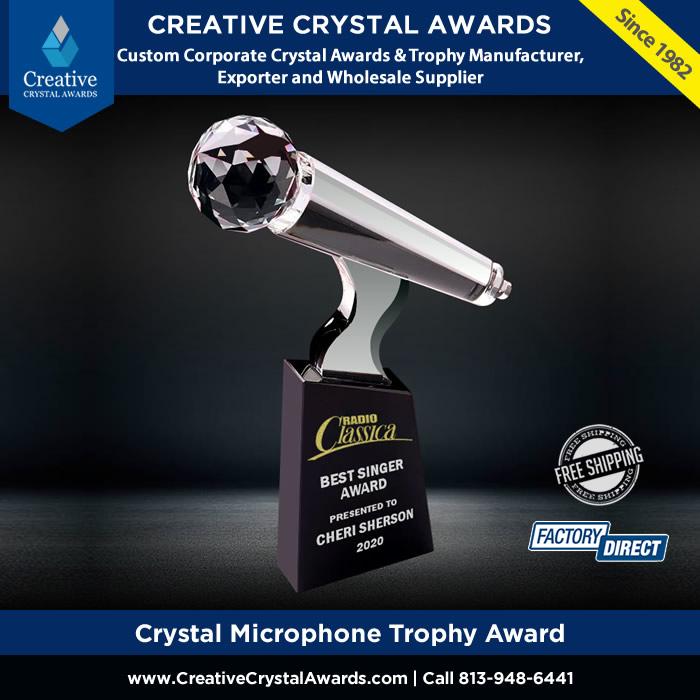 crystal microphone trophy award