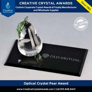 crystal pear award with flat rectangle base