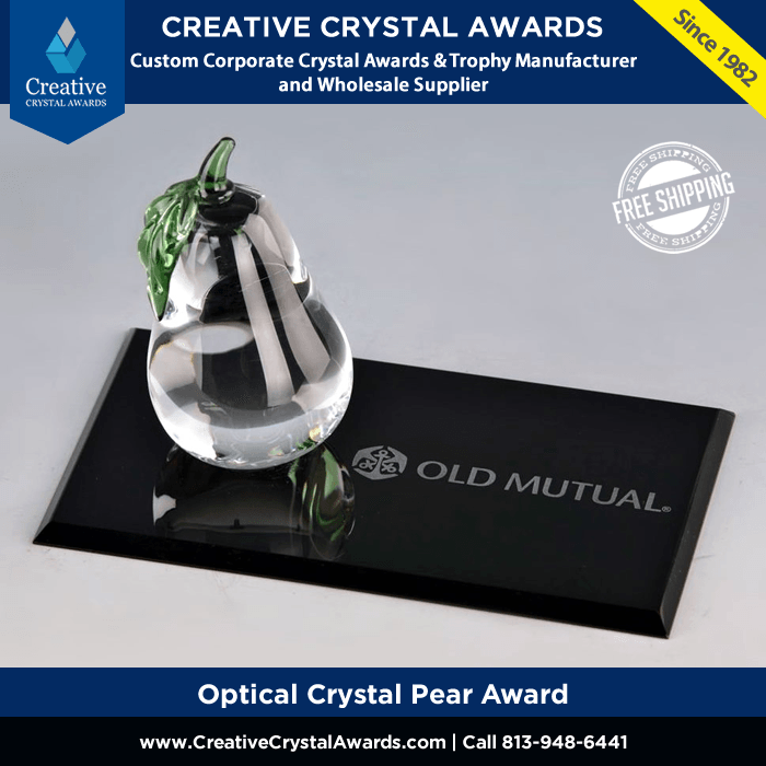 crystal pear award with flat rectangle base