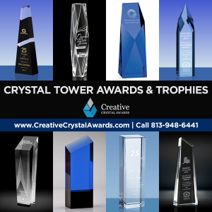 crystal tower awards custom crystal tower trophies