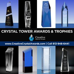 crystal tower awards custom crystal tower trophies