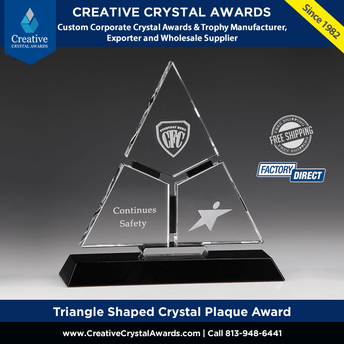 crystal triangle award triangle shaped crystal plaque award