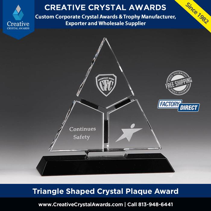 crystal triangle award triangle shaped crystal plaque award