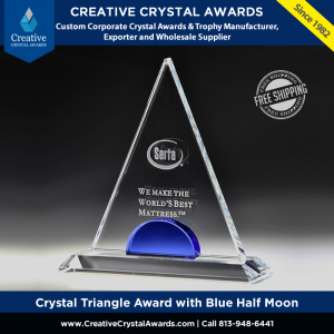 crystal triangle award with blue half moon