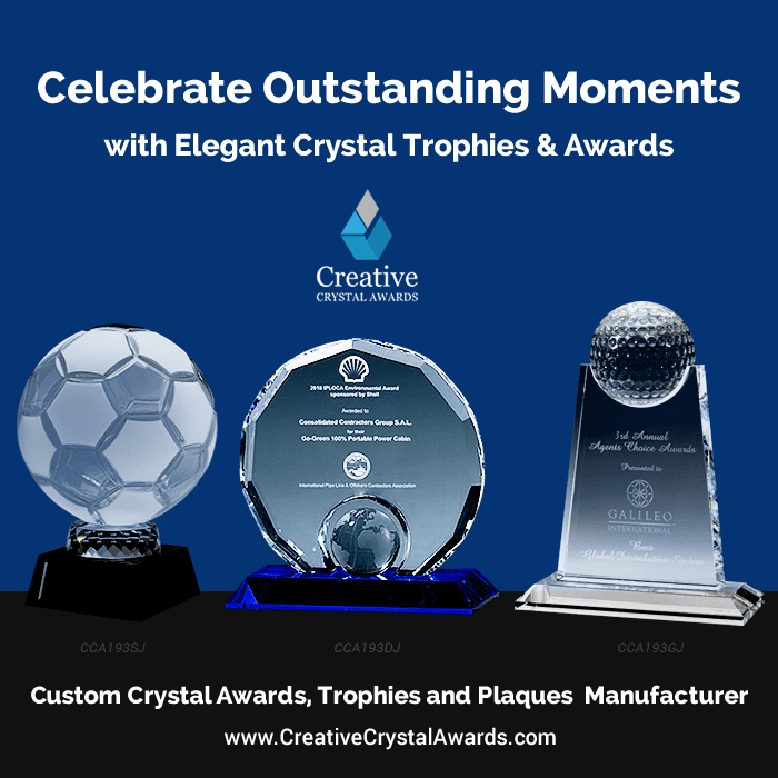 crystal sports trophies and engraved crystal sports awards