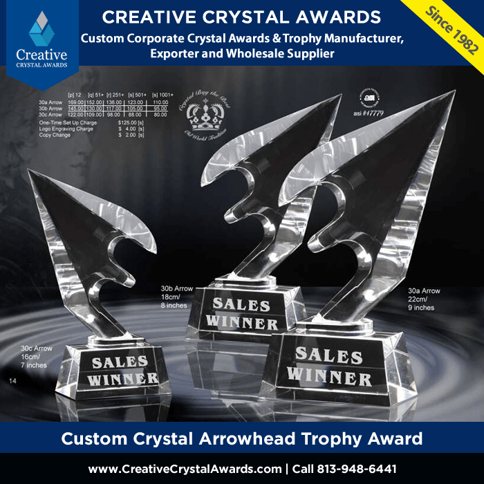 custom crystal arrowhead trophy arrowhead crysta award wholesale