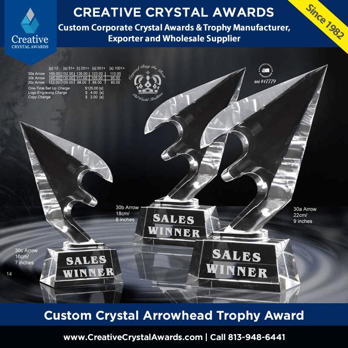 custom crystal arrowhead trophy arrowhead crysta award wholesale