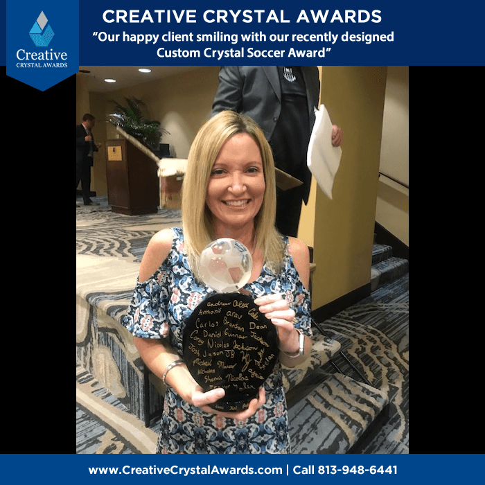 custom crystal soccer trophy award
