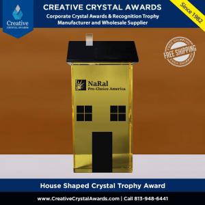 custom house shaped crystal trophy award