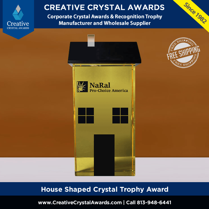 custom house shaped crystal trophy award