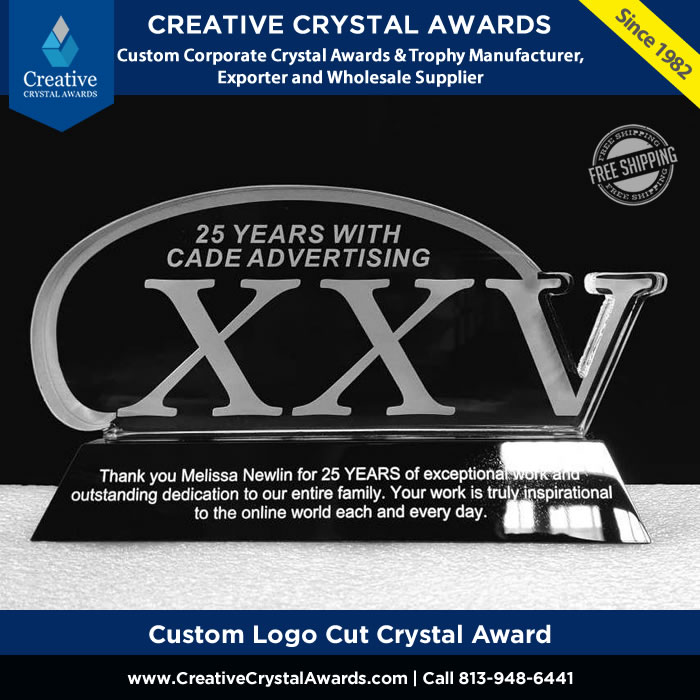 custom logo cut crystal award