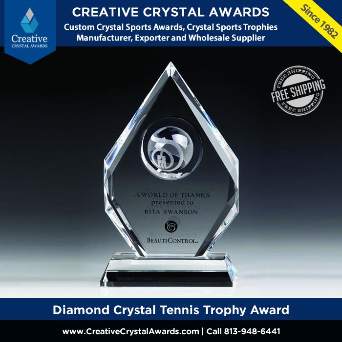 diamond crystal tennis trophy award