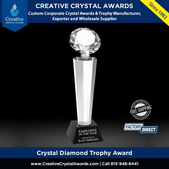 diamond crystal trophy award glass diamond tower trophy