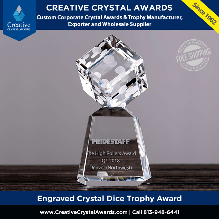 engraved crystal dice trophy award