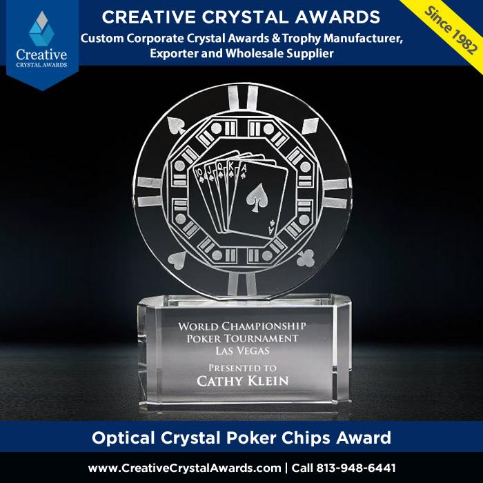 engraved crystal poker chips award casino crystal poker trophy