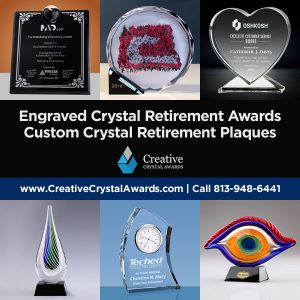 engraved crystal retirement awards custom crystal retirement plaques