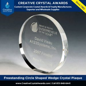 freestanding circle shaped wedge crystal plaque
