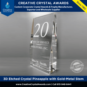 freestanding crystal rectangle block award