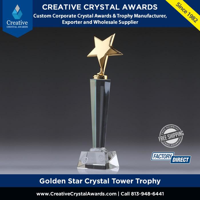 golden star crystal tower trophy award gold metal star crystal trophy