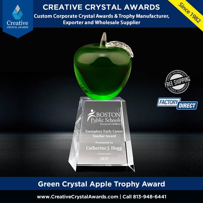 green crystal apple trophy award