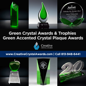 green crystal awards green crystal trophies green crystal plaques