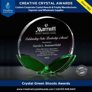 green shoots crystal awards round crystal plaque with green shoots