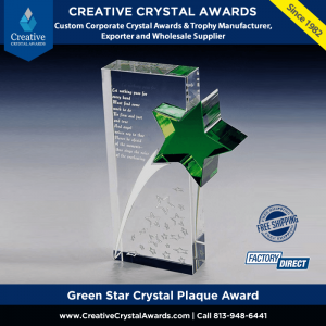 green star crystal plaque award