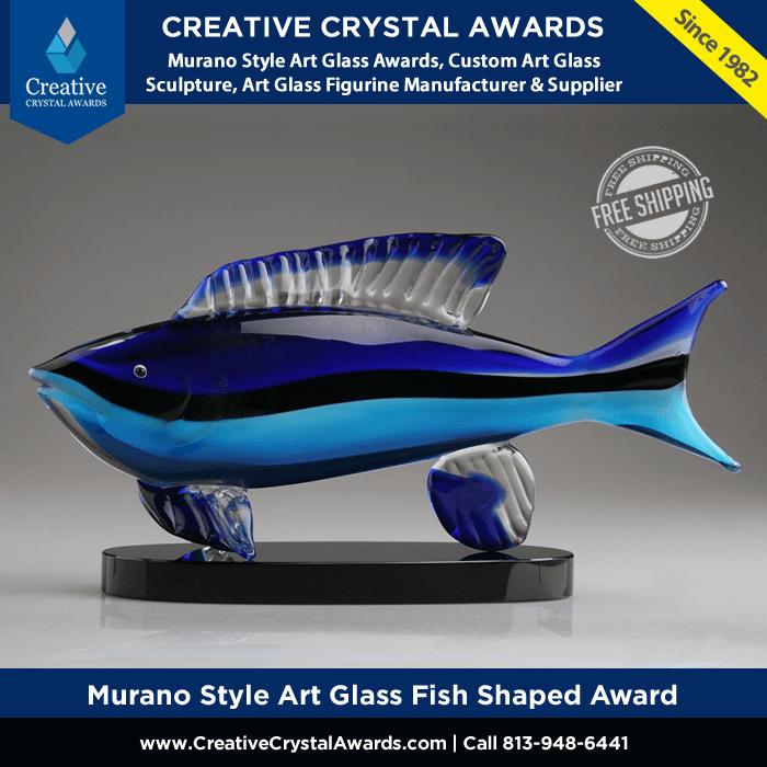 hand blown art crystal glass fish award