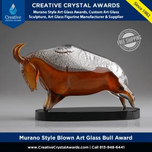 hand blown art glass bull award
