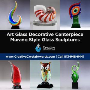 hand blown art glass decorative centerpiece Murano style art glass sculptures