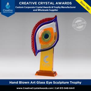 hand blown art glass eye sculpture custom glass art eye award