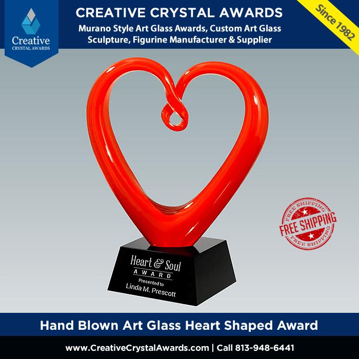 hand blown red art glass heart award