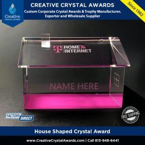 house shaped crystal award 3d crystal house award