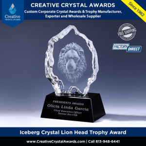 3s laser iceberg crystal lion head trophy award