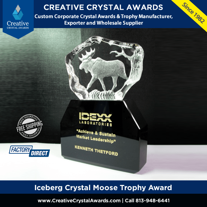 3d laser etched crystal moose animal trophy crystal iceberg animal award