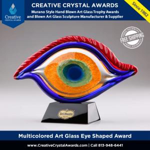 multicolored art glass eye award Murano style art glass eye sculpture