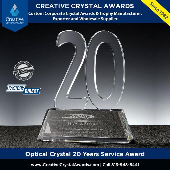 optical crystal 20 years service award employee years of service award
