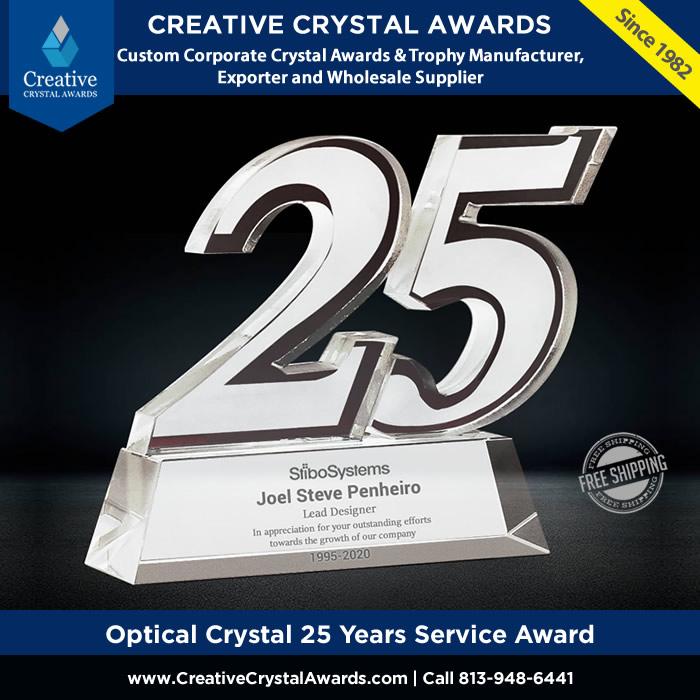 optical crystal 25 years service award employee long service award