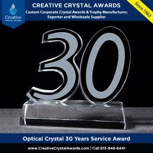 optical crystal 30 years anniversary gift award employee long service award