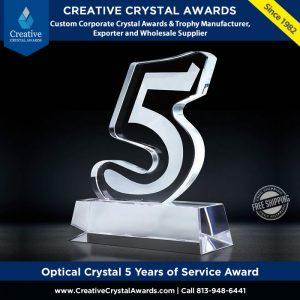 optical crystal 5 years service award fifth years of service crystal award